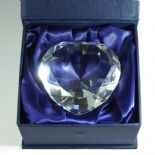 Crystal Heart Paperweight, PERSONALISED, Diamond Wedding, ref HPW2